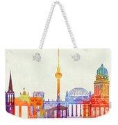 Berlin Landmarks Watercolor Poster Weekender Tote Bag