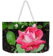Bi-colored Rose In Rain Weekender Tote Bag