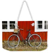 Bicycle In Front Of Red House In Sweden Weekender Tote Bag