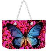 Big Blue Butterfly On Kalanchoe Flowers Weekender Tote Bag