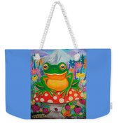 Big Green Frog On Red Mushroom Weekender Tote Bag