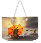 Big Orange Beach Umbrella Watercolor Painting Weekender Tote Bag