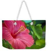 Big Pink Hibiscus Weekender Tote Bag