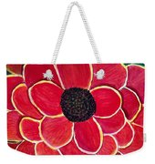 Big Red Zinnia Flower Weekender Tote Bag