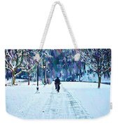 Bike Riding In The Snow Weekender Tote Bag