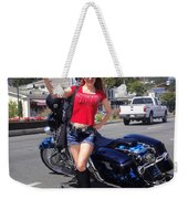 Biker Girl. Model Sofia Metal Queen Weekender Tote Bag