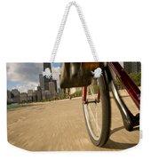 Biking Chicagos Lakefront Weekender Tote Bag