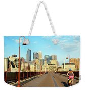 Biking On The Stone Arch Bridge Weekender Tote Bag