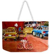Biking To The Orange Julep Weekender Tote Bag
