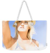 Bikini Lady Against Blue Sky Background Weekender Tote Bag
