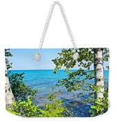 Birch Trees Above Lake Superior Off North Country Trail In Pictured Rocks National Lakeshore-mi Weekender Tote Bag