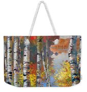 Birch Trees By The Lake Weekender Tote Bag