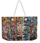 Birch Trees Oil Painting With Palette Knife  Weekender Tote Bag