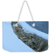Bird Bath In The Snow Weekender Tote Bag