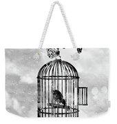 Bird In A Cage-black Weekender Tote Bag