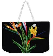 Bird Of Paradise In Black Weekender Tote Bag