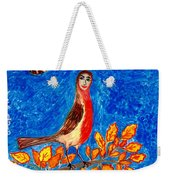 Bird People Robin Weekender Tote Bag by Sushila Burgess
