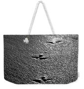 Bird Prints In The Sand Black And White Weekender Tote Bag