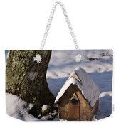 Birdhouse In Snow Weekender Tote Bag