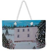 Birds Berries And November Snow Weekender Tote Bag