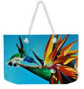 Birds Of Paradise With White Necked Jacobin Hummingbird Weekender Tote Bag