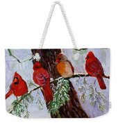 Birds On Branch In Snow Weekender Tote Bag