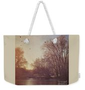 Birds Take Flight Over Lake On A Winters Morning Weekender Tote Bag