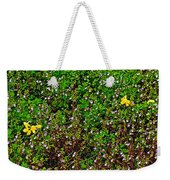 Birdsfoot Trefoil Surrounded By Tiny Bright Eyes In Campground In Saginaw-minnesota Weekender Tote Bag