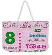 Birth Announcement Weekender Tote Bag