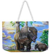 Bison Acrylic Painting Weekender Tote Bag