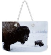 Bison Bison Bison In The Snow Weekender Tote Bag