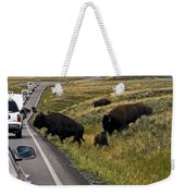 Bison Disrupting Traffic Weekender Tote Bag