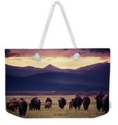 Bison Herd Into The Sunset Weekender Tote Bag