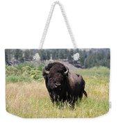 Bison In Grass Weekender Tote Bag