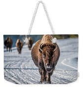 Bison In The Road - Yellowstone Weekender Tote Bag