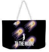 Bitcoin To The Moon Astronaut Cryptocurrency Humor Funny Space Crypto Weekender Tote Bag