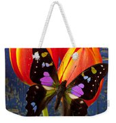 Black And Pink Butterfly Weekender Tote Bag
