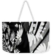Black And White Abstract Floral Weekender Tote Bag