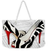 Black And White And Red All Over Weekender Tote Bag