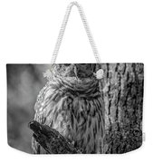Black And White Barred Owl Weekender Tote Bag