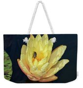 Black And White Beetle On Yellow Pond Lily Weekender Tote Bag