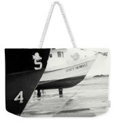 Black And White Boat Reflection Weekender Tote Bag