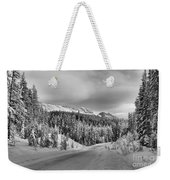 Black And White Bow Valley Parkway - Winter Weekender Tote Bag