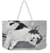 Black And White Cat Lounging Weekender Tote Bag