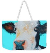 Black And White Cow On Blue Background Weekender Tote Bag