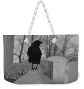 Black And White Crow On Gray Stone Weekender Tote Bag