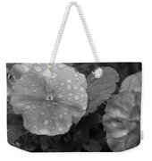Black And White Dewy Pansy 1 Weekender Tote Bag