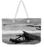 Black And White Driftwood At Whitefish Point Weekender Tote Bag