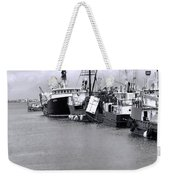 Black And White Fishing Boats On The Dock Weekender Tote Bag