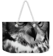 Black And White Owl Painting Weekender Tote Bag